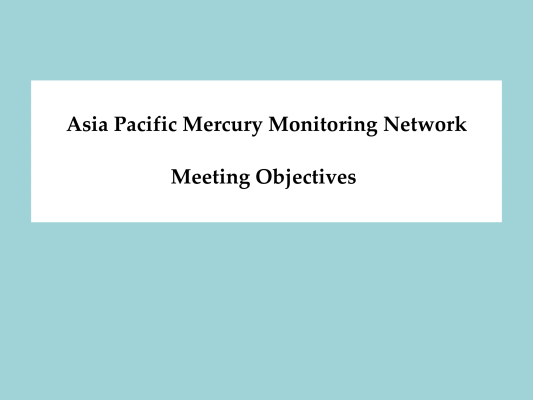 First page of Asia Pacific Mercury Monitoring Network Meeting Objectives