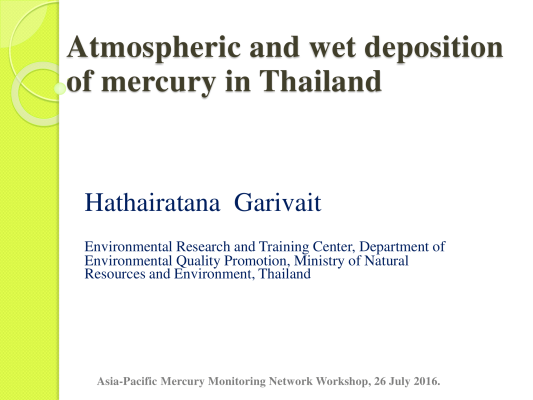 First page of Atmospheric and wet deposition of mercury in Thailand