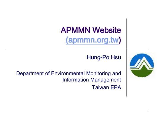 First page of APMMN Website (apmmn.org.tw)