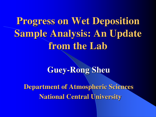 First page of Progress on Wet Deposition Sample Analysis: An Update from the Lab