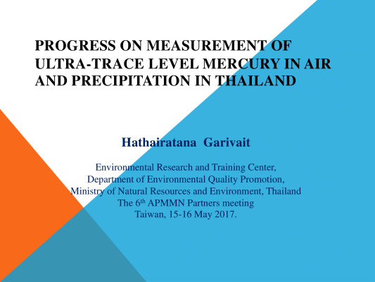 First page of Progress on measurement of Ultra-trace Level Mercury in Air and Precipitation in Thailand