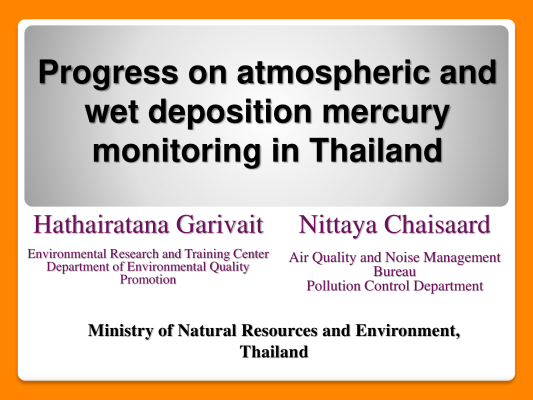 First page of Progress on atmospheric and wet deposition mercury monitoring in Thailand