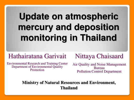 First page of Update on atmospheric mercury and deposition monitoring in Thailand