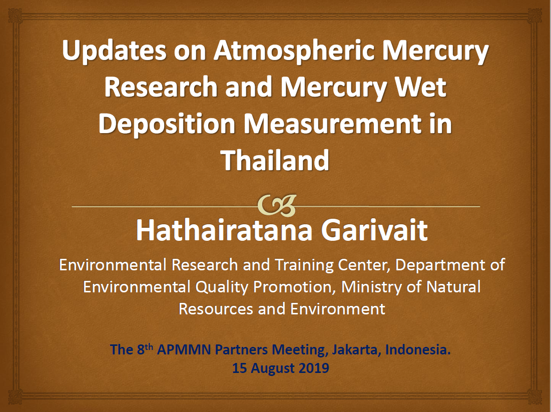 First page of Updates on Atmospheric Mercury Research and Mercury Wet Deposition Measurement in Thailand