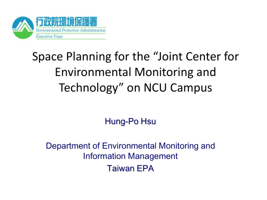 """First page of Space Planning for the """"Joint Center for Environmental Monitoring and Technology"""" on NCU Campus"""