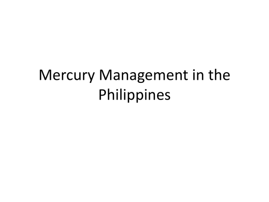 First page of Mercury Management in the Philippines