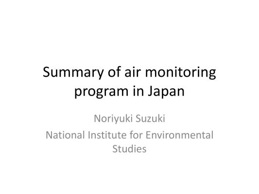 First page of Summary of air monitoring program in Japan