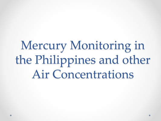 First page of Mercury Monitoring in the Philippines and other Air Concentrations