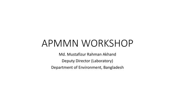 First page of Bangladesh APMMN WORKSHOP