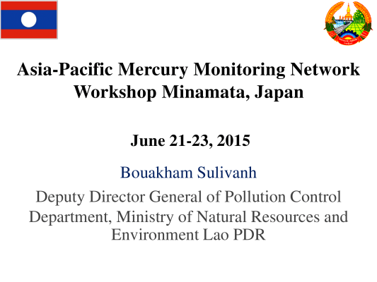 First page of Asia-Pacific Mercury Monitoring Network Workshop Minamata, Japan