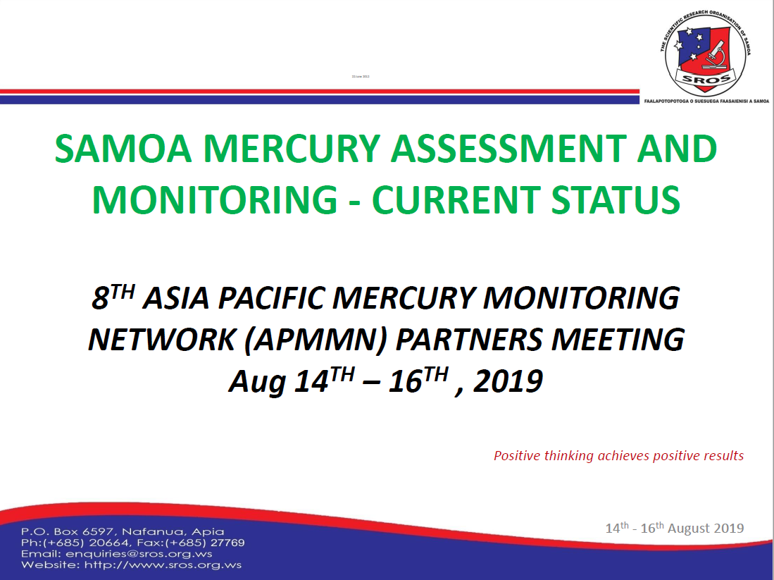 First page of Samoa Mercury Assessment and Monitoring - Current Status