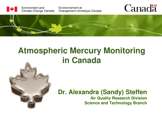 First page of Atmospheric Mercury Monitoring in Canada