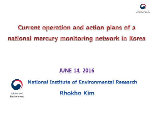 First page of Current operation and action plans of a national mercury newwork in Korea