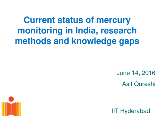 First page of Current status of mercury monitoring in India, research methods and knowledge gaps