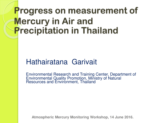 First page of Progress on measurement of Mercury in Air and Precipitation in Thailand