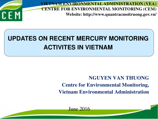 First page of Updates on recent mercury monitoring actives in Vietnam