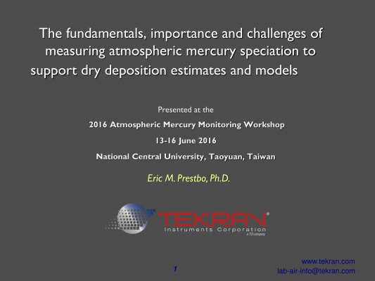 First page of The fundamentals, importance and challenges of measuring atmospheric mercury speciation to support dry deposition estimates and models