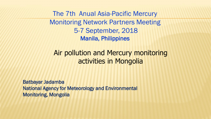 First page of Air pollution and mercury monitoring activities in Mongolia