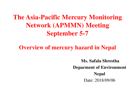 First page of Overview of mercury hazard in Nepal