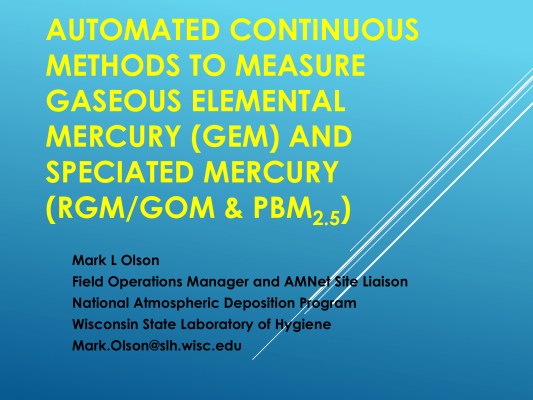 First page of Automated Continuous Methods to Measure Gaseous Elemental Mercury (GEM) and Speciated Mercury (GOM & PBM2.5)