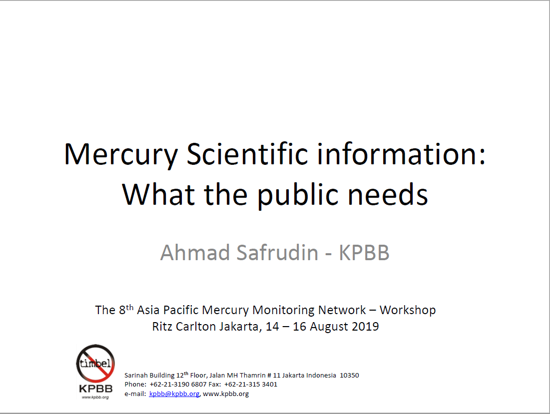 First page of Mercury Scientific information What the public needs