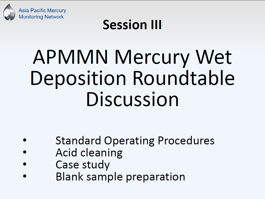 First page of APMMN Mercury Wet Deposition Roundtable Discussion