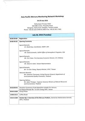 First page of Thailand 2016 Workshop Agenda