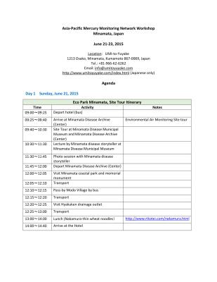 First page of Japan 2015 Workshop Agenda