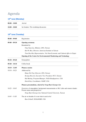 First page of Taiwan 2016 Agenda