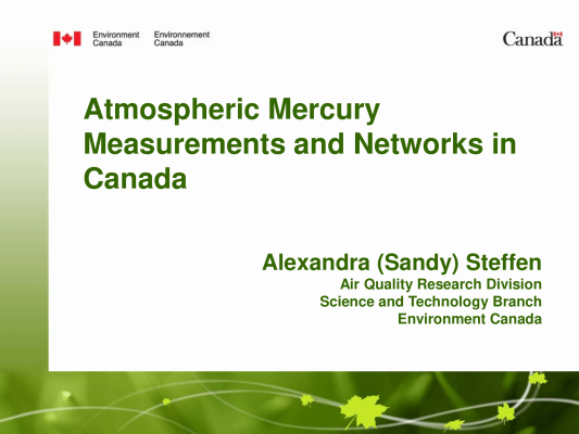 First page of Mercury Measurements in Canada