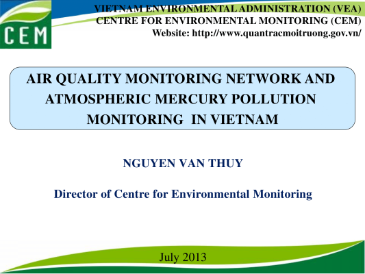 First page of Air&Hg monitoring network in Vietnam
