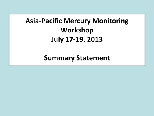 First page of Asia-Pacific Mercury Monitoring Workshop