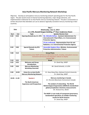 First page of Washington DC 2013 Workshop Conference Information
