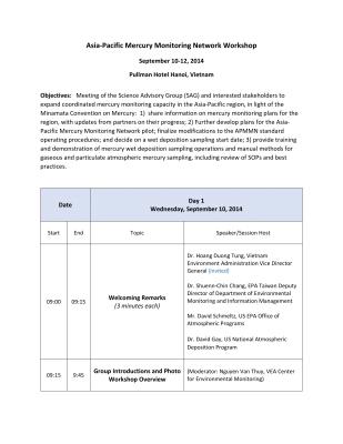 First page of Vietnam 2014 Workshop Conference Information