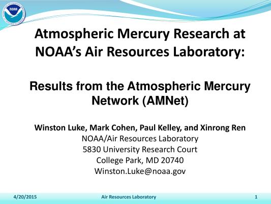First page of Luke Mercury Monitoring Workshop